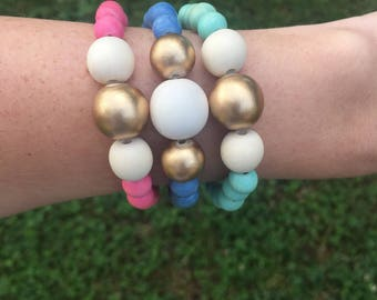 3 pieces stack bracelet set, colorful beaded stack bracelet, boho stack bracelet, wood bracelet, statement jewelry