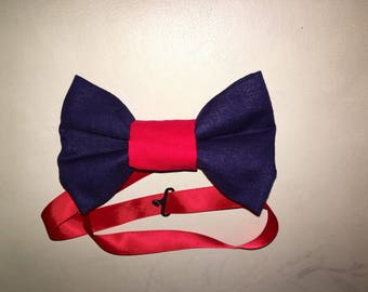 Red and navy blue bow tie