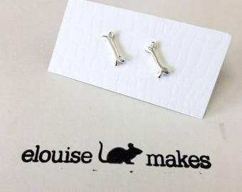 Sterling Silver Bone Studs - skeleton - bones - bone jewellery - ethical jewellery - handmade earrings - bone stud earrings - bone studs