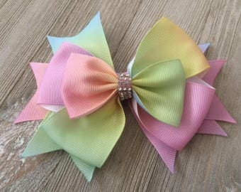 "Pastels Rainbow Ombre Boutique Bow,  Ombre Bow, 4.5"" Rainbow Boutique hairbow, Boutique Hair Bow, Rainbow Layered Hair Bow"