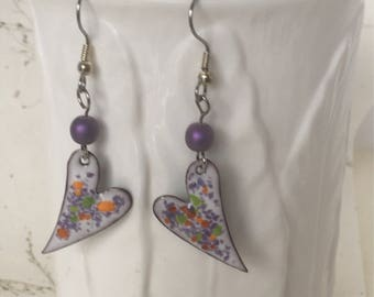 Love My Garden Earrings, Enameled Earrings, Heart Earrings, Beaded Earrings, Floral Earrings, Garden Theme Earrings,
