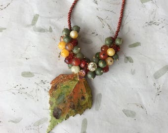 Fall Leaves Necklace, Autumn Necklace, Gemstone Necklace, Jasper Necklace, Serpentine Necklace, Red Agate Necklace, Pendant Necklace, Beaded