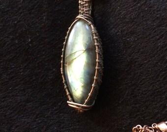 "Labradorite and copper 20"" necklace"