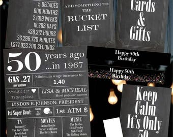 50th Birthday Party Printable BUNDLE! 8x10, 18x24, party favor printables! Signs, Posters, Gifts!