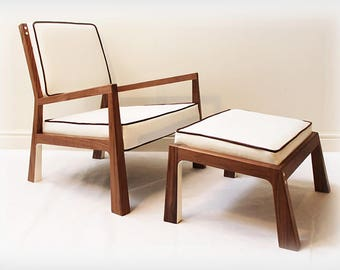 Walnut Lounge Chair with Footstool