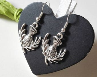 Outlander inspired Claire sassenach gift Scotland silver thistle Scottish Thistle earrings