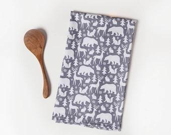 Animal Tea Towel, Grey White, Tea Towel, Bear, Deer, Woods, Woodland, Cabin, Hostess Gift, Vacation Home, Kitchen Gift, New Home Gift