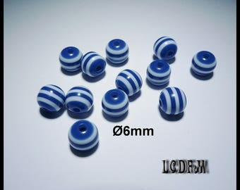* ¤ 12 striped beads white and Navy Blue acrylic Ø6mm ¤ * #P50