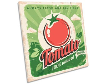 Retro Fresh Tomatoes Kitchen CANVAS WALL ART Square Print