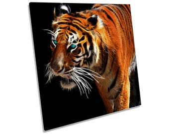 Tiger Abstract Orange CANVAS WALL ART Square Print