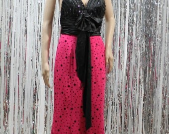 90's style Halter Pink & Black Elegant Gown by Tiffany Designs (6)