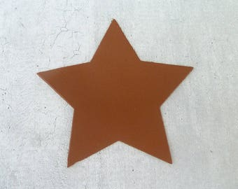 large star 9 cm thin leather, cognac Brown, for creation and customization