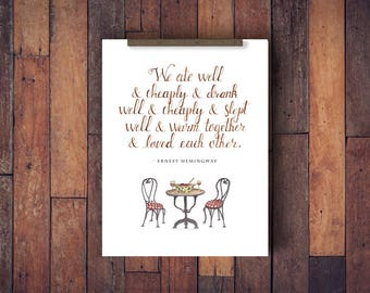 Ernest Hemingway Quote | Watercolor 8x10 Print | Wall Decor