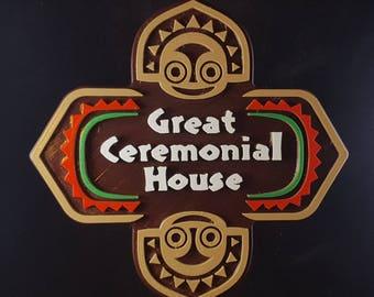 Polynesian Tiki Themed Longhouse Sign / Plaque - Great Ceremonial House ( Disney Resort Polynesia / Park Prop Inspired Replica )