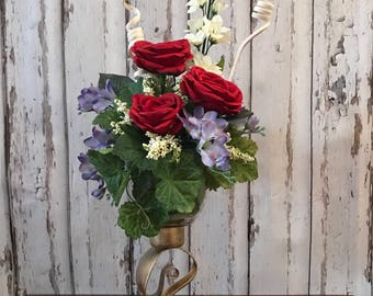 Romantic Roses anyone-red is vibrant on these Old Garden Roses-Joanna Gaines of Fixer upper & I love artificials-carefree-fun-great gift