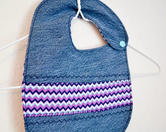 Recycled Denim Reversible Baby Bib // Purple Zig Zag