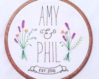 "Wedding Embroidery Hoop, 6"" Hoop, Embroidery Art, Home Decor, Wedding Gift, Custom Embroidery, Flower Embroidery"