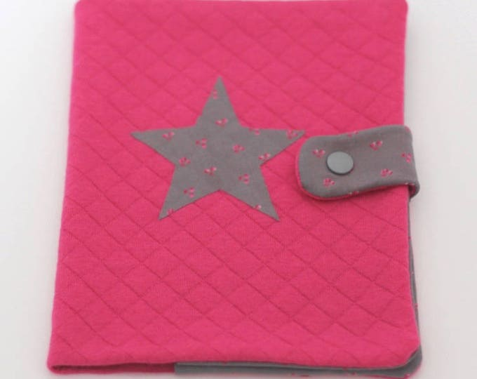 """Health booklet protection cover quilted Jersey color fuchsia/grey for girls with applied """"cherry""""!"""