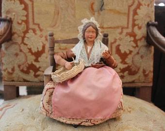 French vintage terracotta figurine Santons de Provence, Handmade figurine sitting lady, Collectible figurine, Vintage Provence art doll