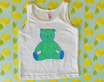 Bo The Bear Hand Printed Toddler Tank Top in Green.