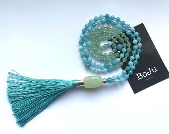 Mala beads - 108 Mala - Mala necklace - prayer beads - meditation beads - yoga jewelry - gemstone mala - long tassel necklace - handmade