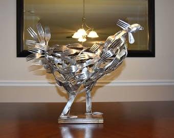 Flatware Chicken Sculpture