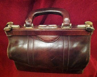 1930s / 40s Gladstone -Leather Anitque Dotors Bag /Studio Donini - made in Italy