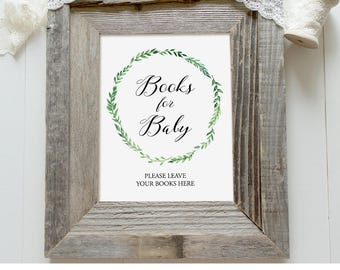 Books for Baby Sign, Baby Shower Book Request Sign, Bring a Book, Printable, Instant Download, Rustic Green Wreath, Digital PDF #013BRS