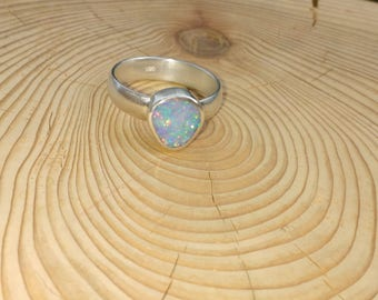 Chunky silver opal ring