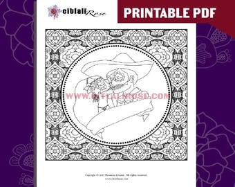 Instant Digital Download - Printable Coloring Page: Amor Eterno Sugar Skull Design