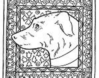 Digital Art 'Lurcher' ,to download and colour in.