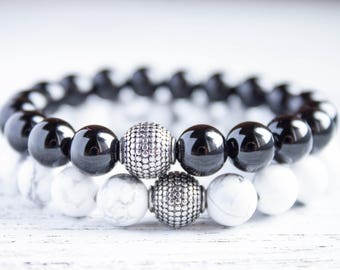 Long Distance Relationship Couple Bracelets Black Beads Matching Bracelet White Couple Gift Ying Yang His and Her Gay Mens Beaded Bracelet