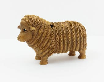 Vintage Large Hand Carved Boxwood Sheep Netsuke Animal Figurine - Handcarved Wood -