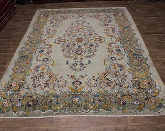 One of a Kind Rare Hand Knotted Kashan Persian Rug Oriental Area Carpet 10X14