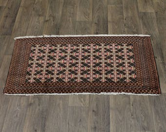 Unique Small Entrance Khaki Turkoman Persian Rug Oriental Area Carpet 2ʹ2X4ʹ5