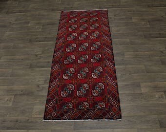 Gorgeous Allover Pattern Tribal Rare Balouch Persia Rug Oriental Area Carpet 3X8