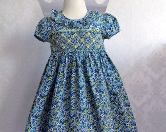 Short sleeved dress blue yellow green white collar blue smock heavenly vollant