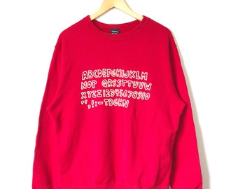 Keith Haring Big Logo Spell Out Crewneck Jumper Sweatshirt Red Colour