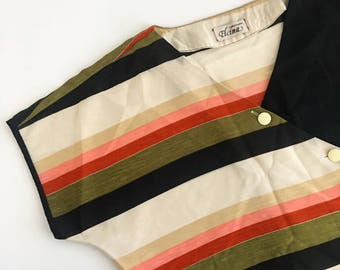 Assymetrical Sheer Striped Blouse // Retro Womens Tops // Casual Everyday Shirt // Upcycled Clothing