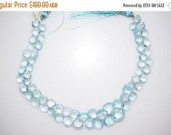 "50% OFF Sky Blue Topaz Faceted Heart Beads-Sky Blue Topaz Heart Briolette, 6x6 - 9x9 mm, 8"", BL756"