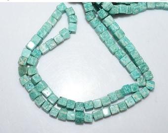 """50% OFF 1 Strand Amazonite Smooth Box Shape Beads - Amazonite Cube Briolette , Amazonite Briolette , 5 - 6 mm , 16"""" , BL1757"""
