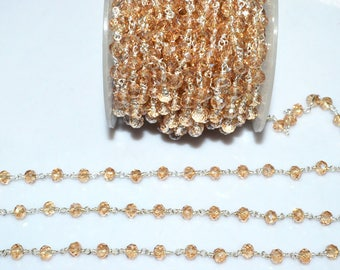Brand New Mystic Peach Hydro Quartz Glass Rosary Bead Chain - Faceted Wire Wrapped Chain,Sold By Foot, 5.50 - 6 mm - RB5683