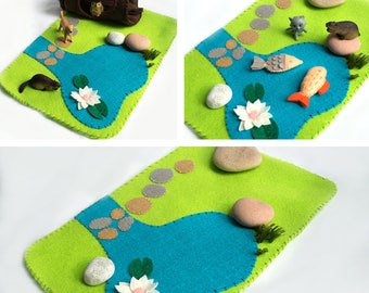Felt play mat, Pond playscape for pretend play, Play Mat, Woodland