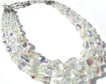 ON SALE Vintage midcentury aurora borealis crystal glass necklace