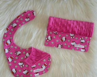 Burp cloth and baby bib, Flannel burp cloth and bib, Hello kitty gift set, Baby shower gift set