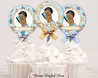 Cupcake Topper Circles Vintage Story Book Reading Baby Boy African American | Editable PDF Instant Download