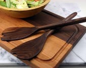 "Salad Servers / 12"" or 14"" / Cherry or Walnut"