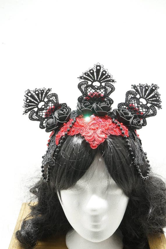 Gothic red black roses headpiece / rose headpiece in red black