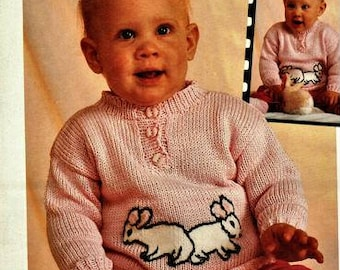 Babies bunny Motif Jumper Knitting Pattern - size 68 / 74 or 6 to 9 months pdf