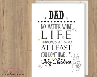 Dad - Fathers Day Card - Birthday Card - Stepdad- Printable Card - Digital Download File - Typography
